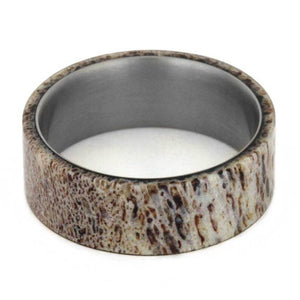MENS WEDDING BAND, ANTLER RING OVER TITANIUM BAND-2872 - Cairo Men's Wedding Rings