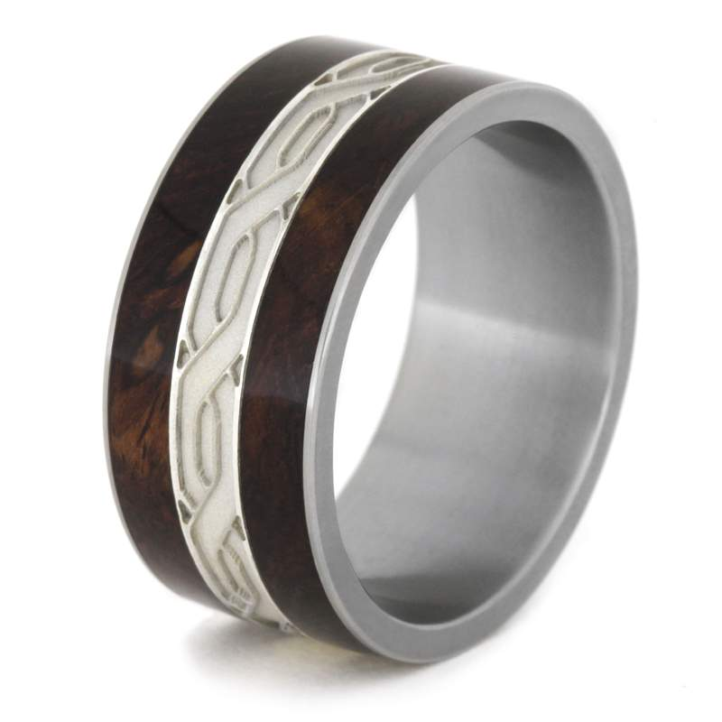 MENS WEDDING BAND LARGE SILVER CELTIC KNOT RINGS WITH ROSEWOOD-1967 - Cairo Men's Wedding Rings