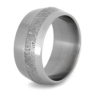 MENS WEDDING BAND METEORITE RING KNIFE EDGE PROFILE-1752 - Cairo Men's Wedding Rings