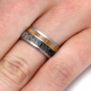 MENS WEDDING BAND, BETHLEHEM OLIVE WOOD AND ANTLER RING-2094 - Cairo Men's Wedding Rings