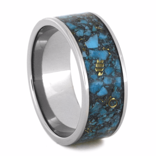 MENS WEDDING BAND WITH CRUSHED TURQUOISE-2229 - Cairo Men's Wedding Rings