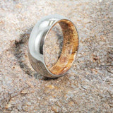 MENS WEDDING BAND, TITANIUM RING WITH EXOTIC WOOD SLEEVE-1454 - Cairo Men's Wedding Rings