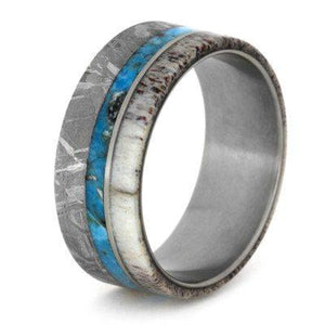 MENS WEDDING BAND TURQUOISE RING WITH GIBEON METEORITE-1798 - Cairo Men's Wedding Rings