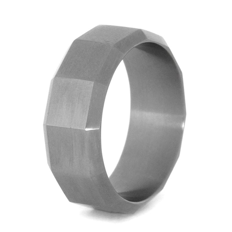 MENS WEDDING BAND WITH TITANIUM CUSTOM DESIGN-3157 - Cairo Men's Wedding Rings