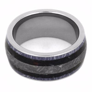 MENS WEDDING BAND WITH METEORITE AND DINOSAUR BONE-2143 - Cairo Men's Wedding Rings