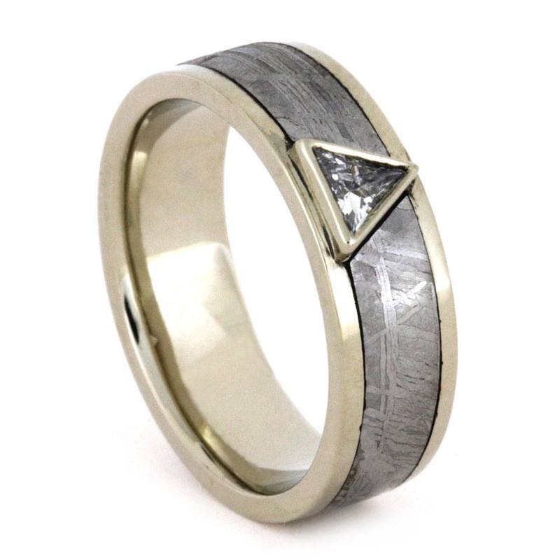 MENS RING, TRIANGLE CUT DIAMOND IN METEORITE-3245 - Cairo Men's Wedding Rings