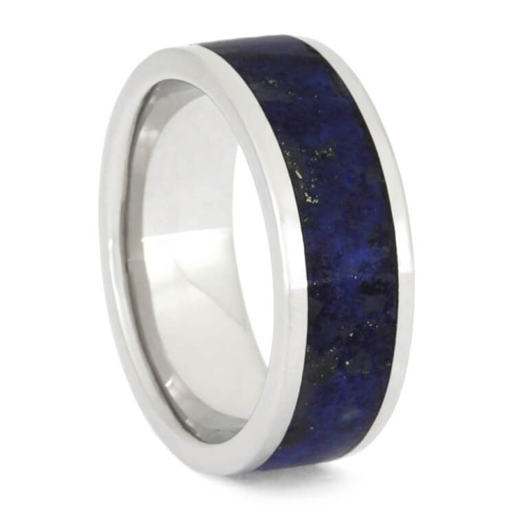 MEN'S PLATINUM LAPIS LAZULI WEDDING BAND-2524 - Cairo Men's Wedding Rings