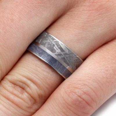 WEDDING BAND WITH MOKUME AND METEORITE-2152 - Cairo Men's Wedding Rings