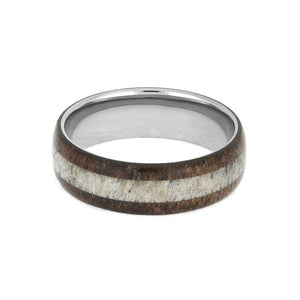 MESQUITE WOOD RING WITH DEER ANTLER, TITANIUM WEDDING BAND-3874 - Cairo Men's Wedding Rings