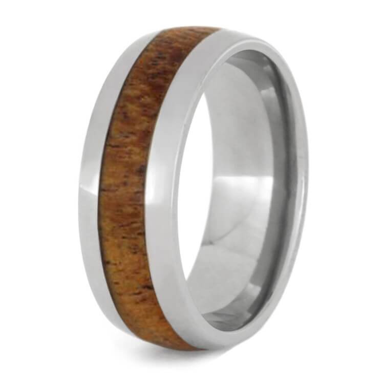MESQUITE WOOD WEDDING BAND, TITANIUM RING-2621 - Cairo Men's Wedding Rings