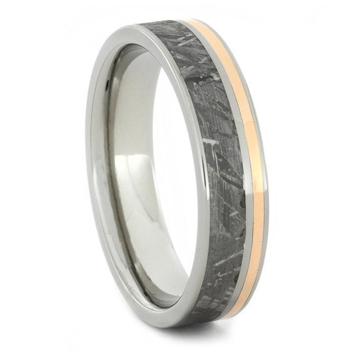 METEORITE AND 14K ROSE GOLD RING WITH TITANIUM-1724 - Cairo Men's Wedding Rings