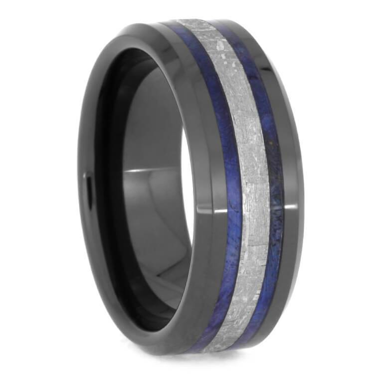 METEORITE AND BLUE BOX ELDER BURL WOOD RING-2544 - Cairo Men's Wedding Rings
