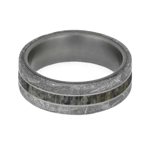 METEORITE AND DEER ANTLER RING IN TITANIUM-4201 - Cairo Men's Wedding Rings
