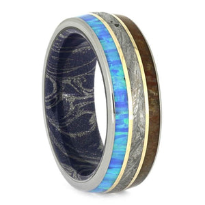 METEORITE AND FOSSIL RING WITH MOKUME SLEEVE AND YELLOW GOLD-2637 - Cairo Men's Wedding Rings