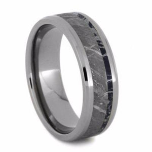 METEORITE AND TITANIUM BEVELED MOKUME WEDDING BAND-2033 - Cairo Men's Wedding Rings