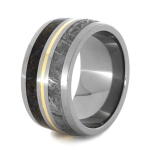 METEORITE DINOSAUR RING TITANIUM WITH YELLOW GOLD-3194 - Cairo Men's Wedding Rings