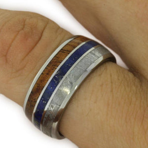 METEORITE INLAY RING, LAPIS LAZULI AND TITANIUM KOA WOOD-1594 - Cairo Men's Wedding Rings