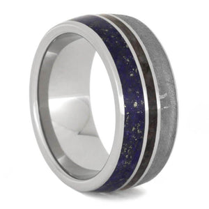 METEORITE, LAPIS LAZULI AND DINOSAUR BONE MEN'S BAND-2353 - Cairo Men's Wedding Rings