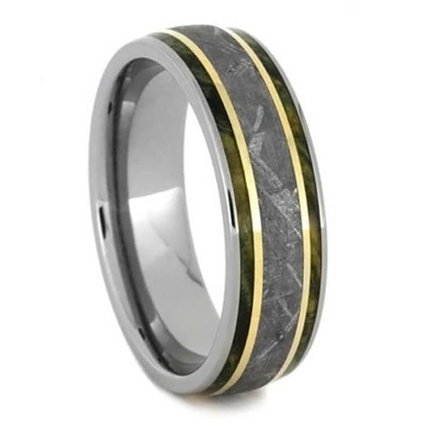 METEORITE WEDDING BAND WITH GOLD STRIPES AND GREEN WOOD-2720