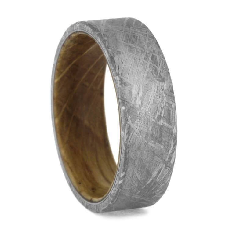 METEORITE WEDDING BAND WITH WHISKEY BARREL WOOD SLEEVE-3622 - Cairo Men's Wedding Rings
