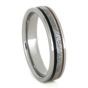 METEORITE RING WITH AFRICAN BLACKWOOD AND ORANGE ENAMEL-3313 - Cairo Men's Wedding Rings