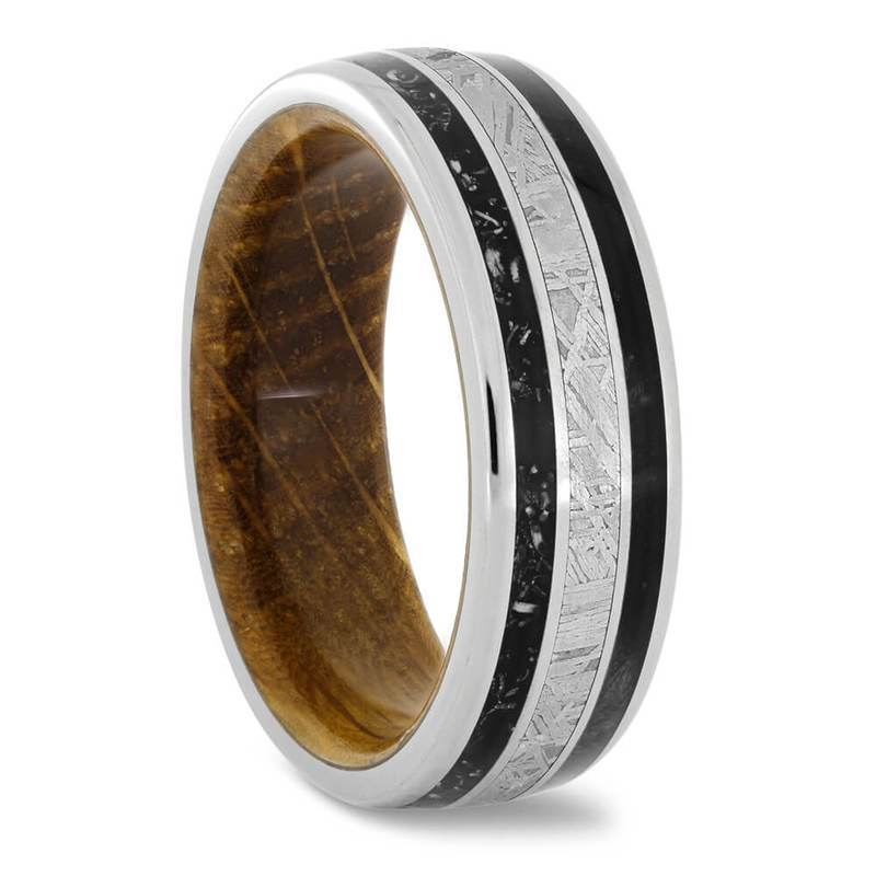 METEORITE WEDDING RING WITH BLACK WOOD, WHISKEY BARREL OAK, AND STARDUST-4266 - Cairo Men's Wedding Rings