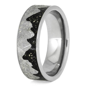 METEORITE MOONSCAPE RING WITH BLACK TITANIUM STARDUST-3750 - Cairo Men's Wedding Rings