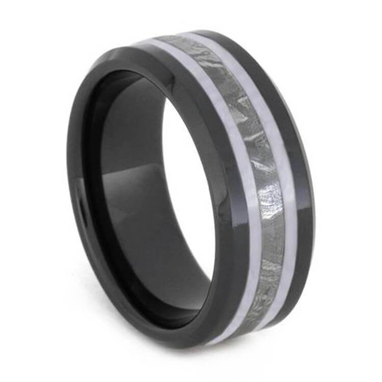 METEORITE RING, BLACK CERAMIC WEDDING BAND WITH WHITE ENAMEL-2631 - Cairo Men's Wedding Rings