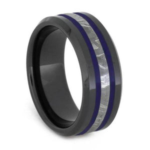 METEORITE RING IN BLACK CERAMIC WITH BLUE ENAMEL PINSTRIPES-2625 - Cairo Men's Wedding Rings