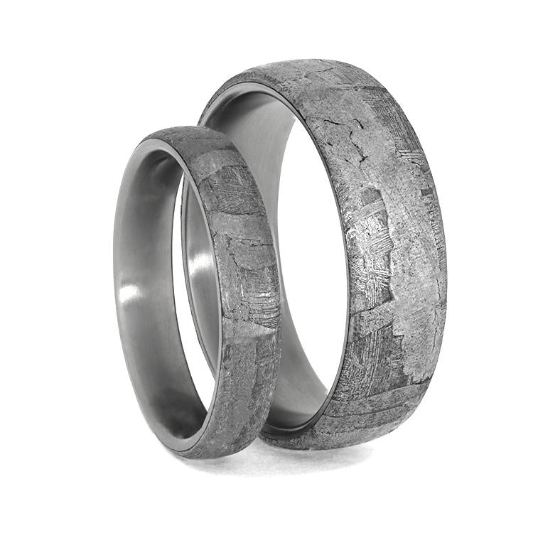 METEORITE RING SET, TITANIUM WEDDING BAND SET WITH SEYMCHAN METEORITE-3995 - Cairo Men's Wedding Rings
