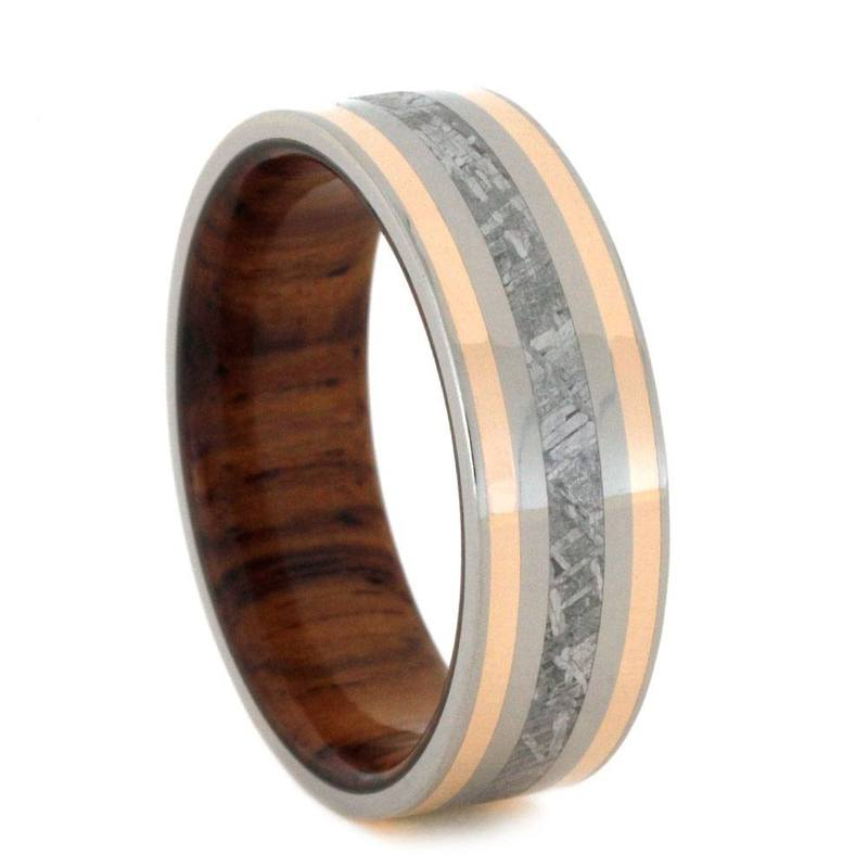 METEORITE RING WITH ROSE GOLD AND WOOD SLEEVE-2798 - Cairo Men's Wedding Rings