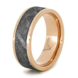METEORITE RING WITH ROSE GOLD EDGES, WEDDING BAND-1742 - Cairo Men's Wedding Rings