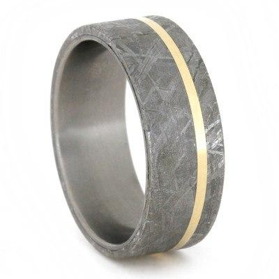 METEORITE RING WITH YELLOW GOLD PINSTRIPE ON TITANIUM BAND-1767 - Cairo Men's Wedding Rings