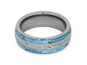 METEORITE RING WITH AUTHENTIC TURQUOISE AND TITANIUM-4238 - Cairo Men's Wedding Rings
