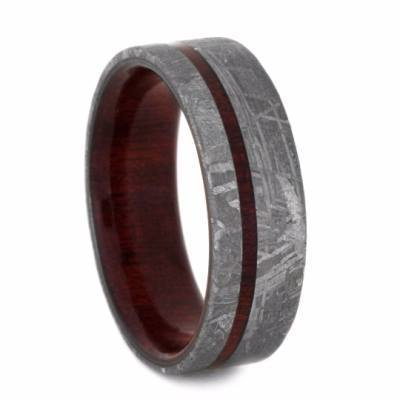 METEORITE RING WITH BLOODWOOD SLEEVE-2247 - Cairo Men's Wedding Rings