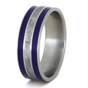 METEORITE RING WITH BLUE STRIPES, BLUE ENAMEL IN TITANIUM-3304 - Cairo Men's Wedding Rings