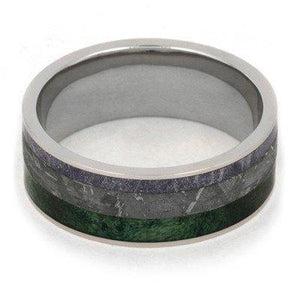 METEORITE RING WITH MOKUME AND GREEN BOX ELDER BURL-1896 - Cairo Men's Wedding Rings