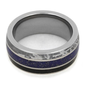 METEORITE RING WITH DINOSAUR BONE AND LAPIS LAZULI-2172 - Cairo Men's Wedding Rings