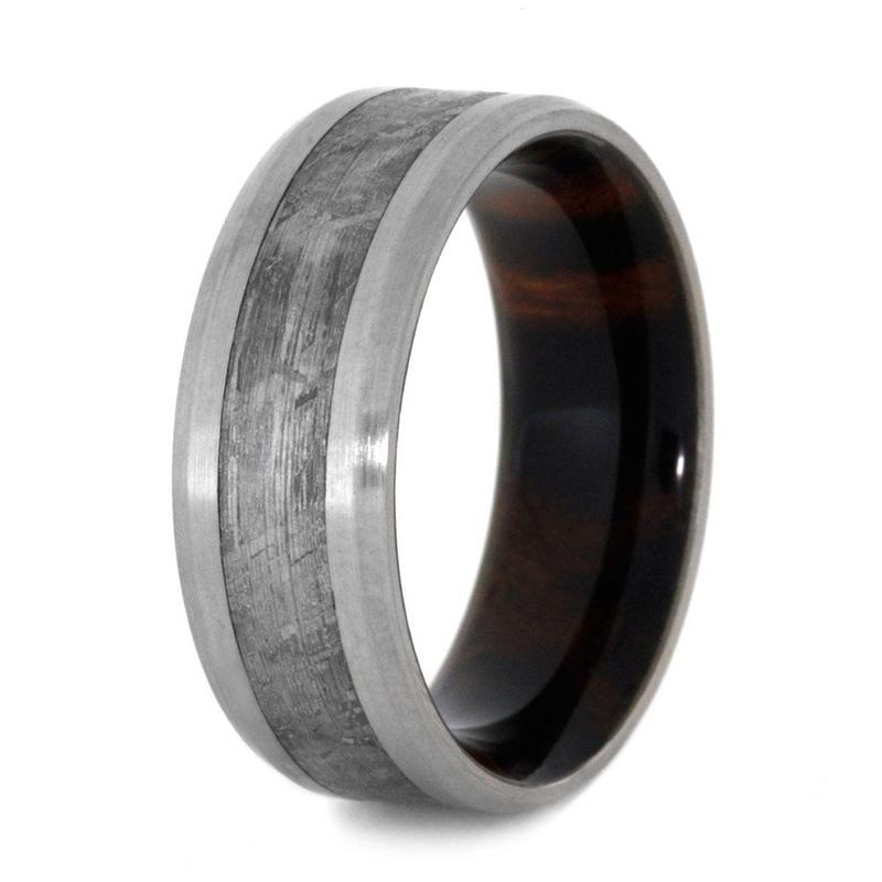 METEORITE RING WITH IRONWOOD SLEEVE AND TITANIUM-3182 - Cairo Men's Wedding Rings