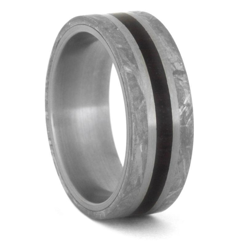 METEORITE STONE WEDDING BAND, PETRIFIED WOOD RING-3495 - Cairo Men's Wedding Rings