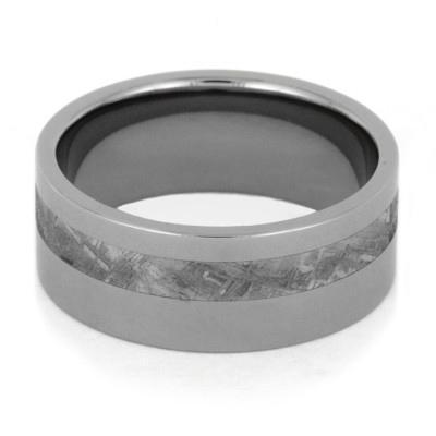 METEORITE WEDDING BAND INLAID IN TITANIUM-1776 - Cairo Men's Wedding Rings