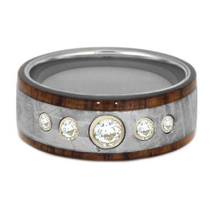 METEORITE WEDDING BAND, MOISSANITE AND WOOD RING-3347 - Cairo Men's Wedding Rings