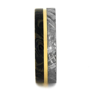 METEORITE WEDDING BAND WITH MOKUME AND YELLOW GOLD-2868 - Cairo Men's Wedding Rings