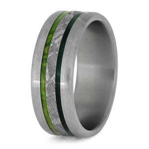 METEORITE TITANIUM WEDDING BAND WITH GREEN WOOD-3852 - Cairo Men's Wedding Rings