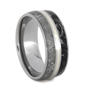 METEORITE, WHITE GOLD AND BLACK AND WHITE MOKUME WEDDING BAND-2807 - Cairo Men's Wedding Rings