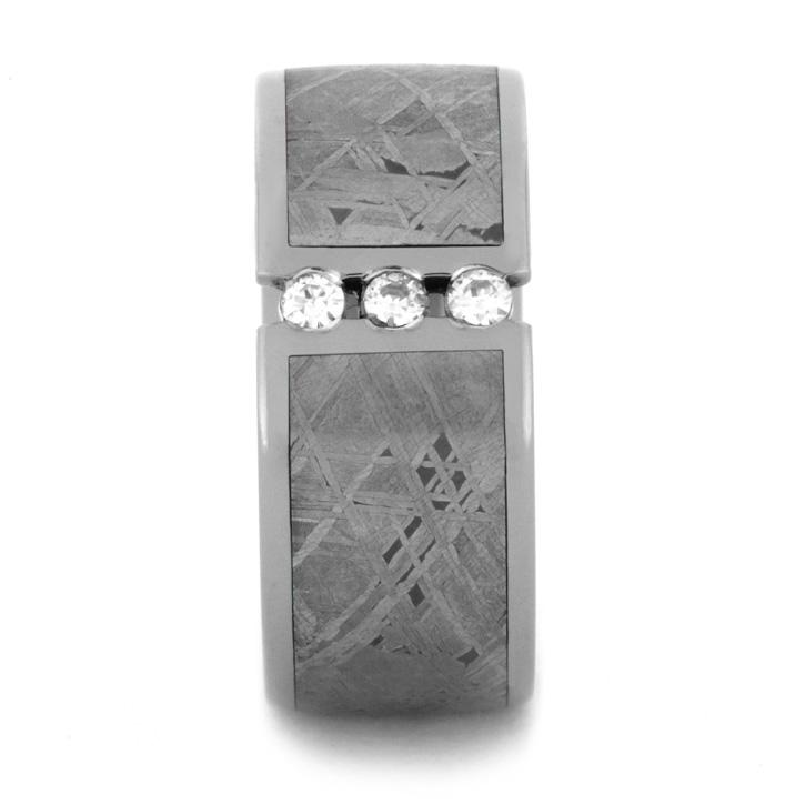 MOISSANITE MEN'S WEDDING BAND WITH METEORITE IN TITANIUM-1137 - Cairo Men's Wedding Rings