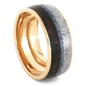 MOKUME MEN'S WEDDING BAND IN ROSE GOLD WITH METEORITE AND DINOSAUR BONE-3559 - Cairo Men's Wedding Rings