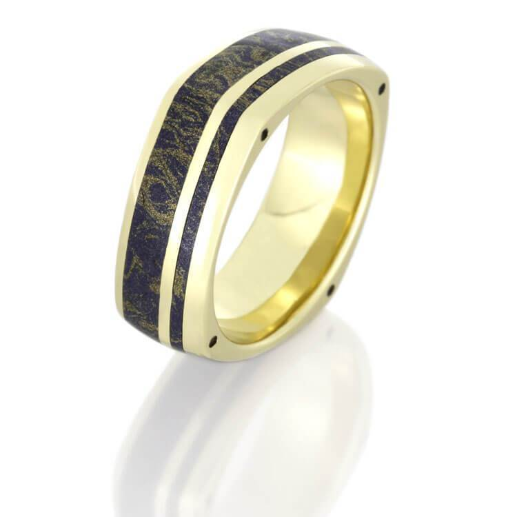 MOKUME WEDDING BAND IN YELLOW GOLD WITH SIDE ACCENTS-DJ1003YG - Cairo Men's Wedding Rings