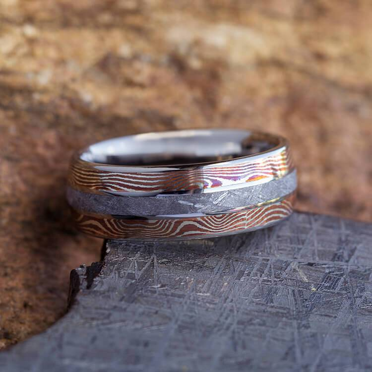COPPER AND SILVER MOKUME WEDDING BAND WITH TITANIUM-3603 - Cairo Men's Wedding Rings