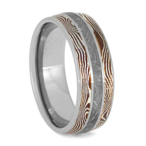 MOKUME WEDDING BAND, METEORITE RING WITH TITANIUM-3603 - Cairo Men's Wedding Rings